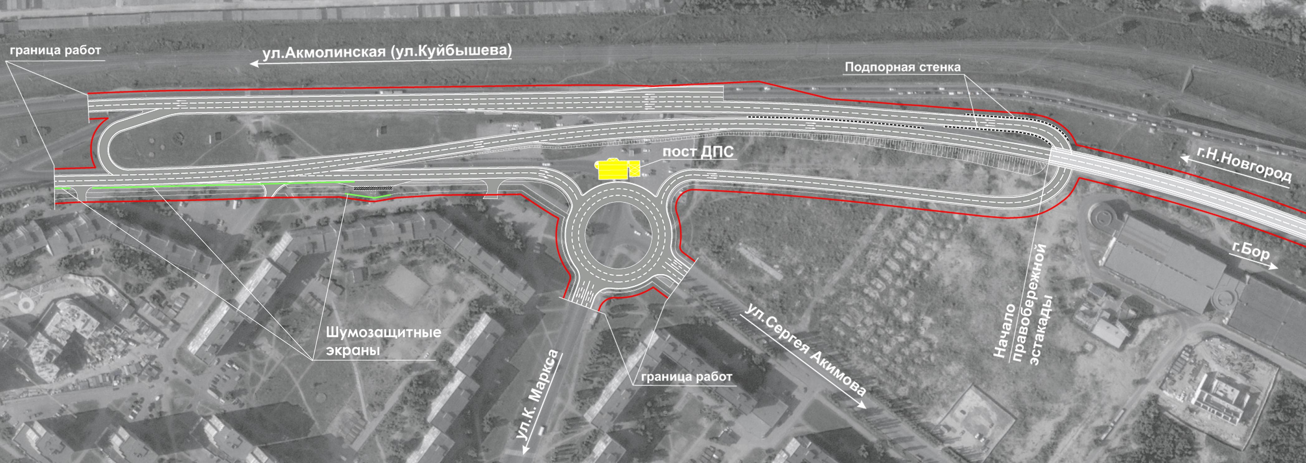 Схема проезда через новый борский мост